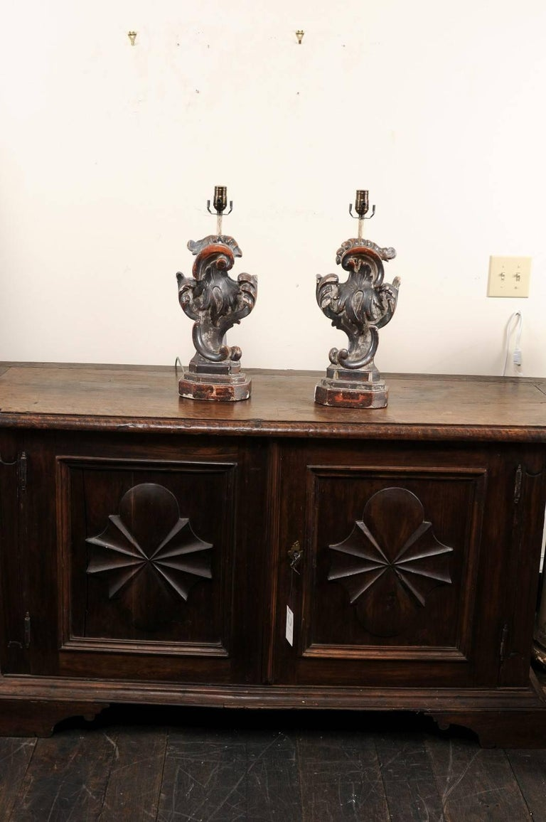 Pair of Italian Altar Table Lamps Fashioned from Antique Rococo Style Fragments For Sale 4
