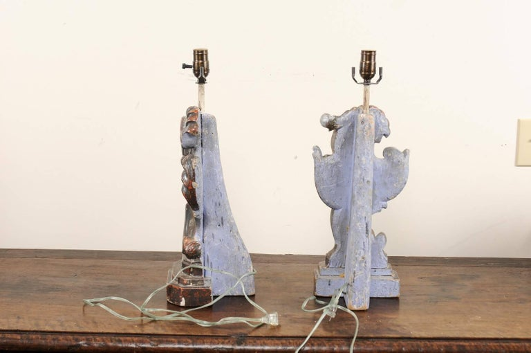 Pair of Italian Altar Table Lamps Fashioned from Antique Rococo Style Fragments For Sale 2
