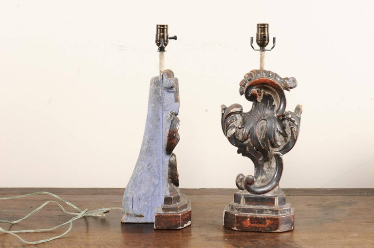 Wood Pair of Italian Altar Table Lamps Fashioned from Antique Rococo Style Fragments For Sale