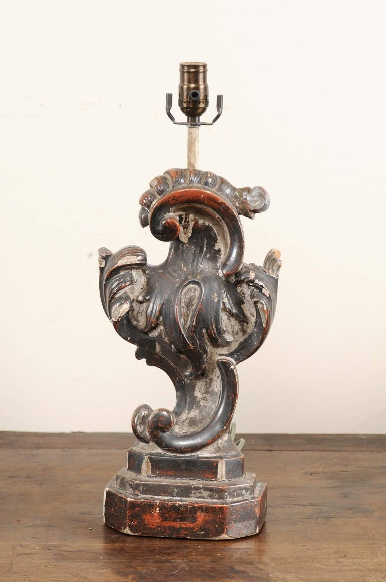 Pair of Italian Altar Table Lamps Fashioned from Antique Rococo Style Fragments In Good Condition For Sale In Atlanta, GA