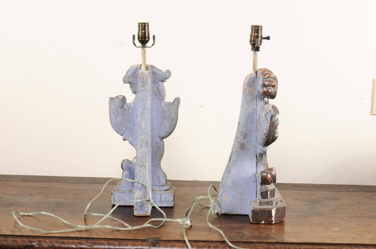 Pair of Italian Altar Table Lamps Fashioned from Antique Rococo Style Fragments For Sale 1