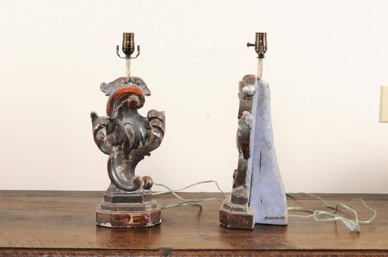 Pair of Italian Altar Table Lamps Fashioned from Antique Rococo Style Fragments For Sale 3