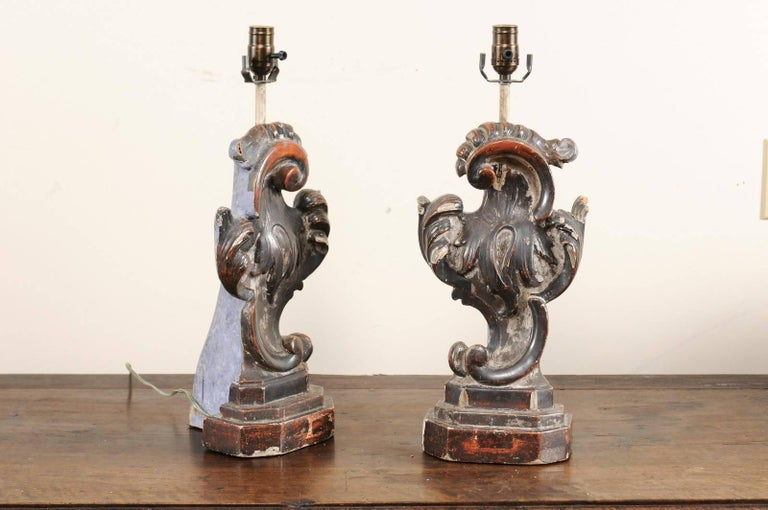20th Century Pair of Italian Altar Table Lamps Fashioned from Antique Rococo Style Fragments For Sale