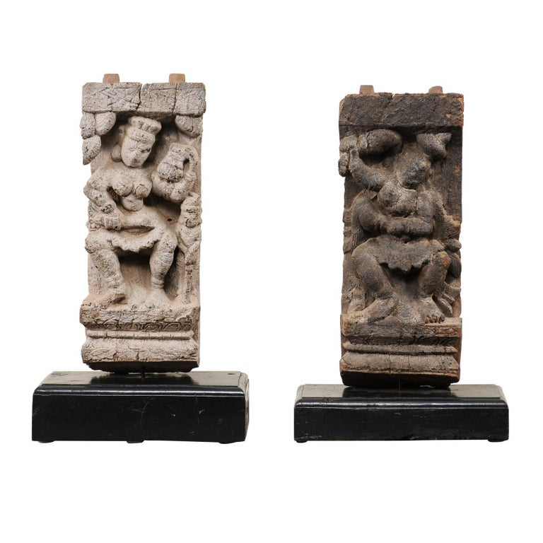 Pair of 19th Century Hindu Temple Fragments, Hand-Carved from India