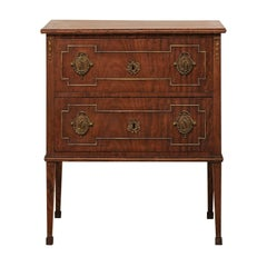 French Mahogany Two-Drawer Chest, Early 20th Century, Empire Style Hardware