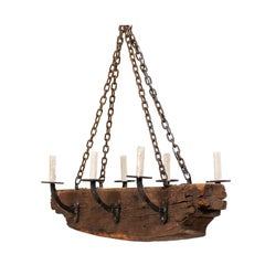 French Vintage Midcentury Rustic Wood Beam Chandelier with Six Forged Iron Arms