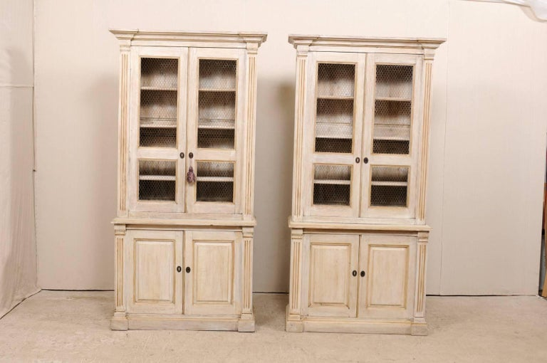 Pair Of 19th Century Tall Painted Wood Cabinets With Wire On The