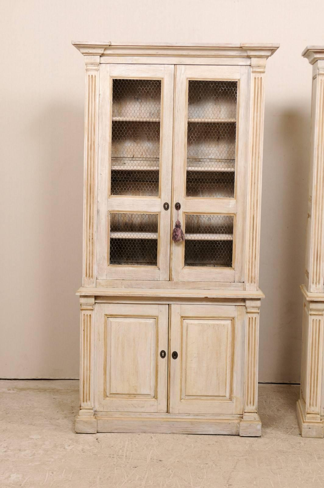 Charmant Pair Of 19th Century Tall Painted Wood Cabinets With Wire On The Cabinet  Doors At 1stdibs