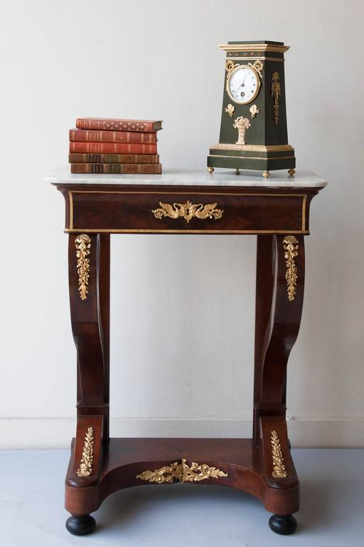 Small Restauration Mahogany Console Table With White