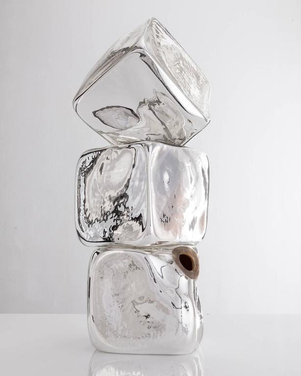 Stacked Sculpture in Handblown Silver Mirrorized Glass by Jeff Zimmerman, 2015 In Excellent Condition For Sale In New York, NY