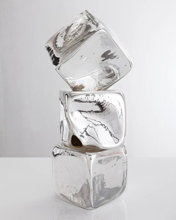 American Stacked Sculpture in Handblown Silver Mirrorized Glass by Jeff Zimmerman, 2015 For Sale