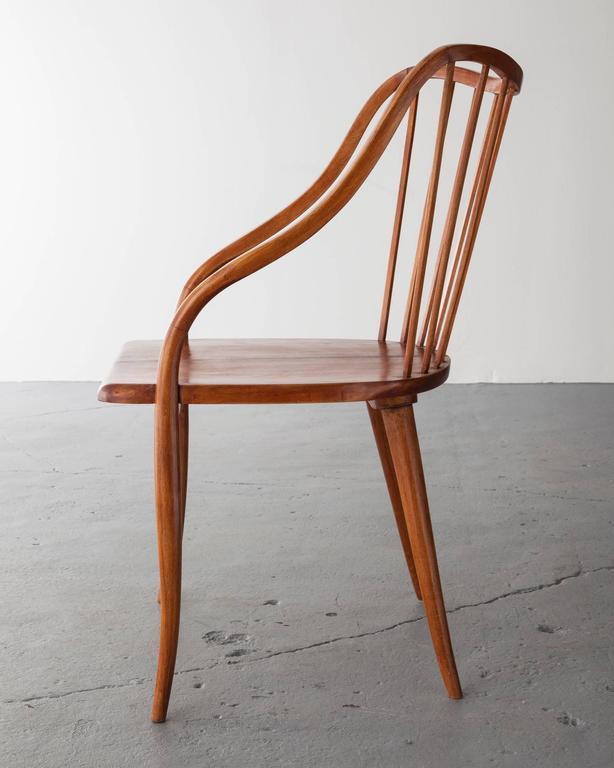 Brazilian Side Chair in Pau Marfim with Undulating Armrests by Joaquim Tenreiro, 1948 For Sale