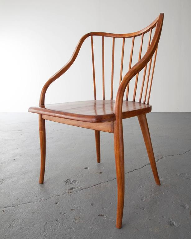 Side Chair in Pau Marfim with Undulating Armrests by Joaquim Tenreiro, 1948 In Excellent Condition For Sale In New York, NY