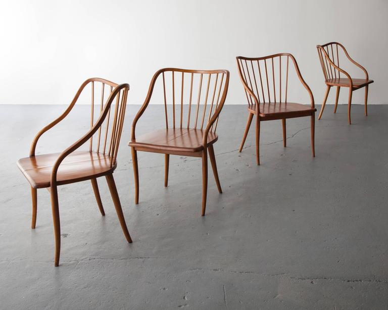 Side Chair in Pau Marfim with Undulating Armrests by Joaquim Tenreiro, 1948 For Sale 2
