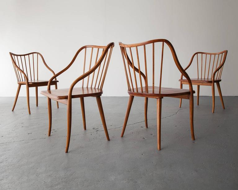 Side Chair in Pau Marfim with Undulating Armrests by Joaquim Tenreiro, 1948 For Sale 3