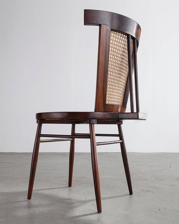 """""""Small Chair"""" in Jacaranda with Curved Cane Back by Joaquim Tenreiro, 1960 3"""