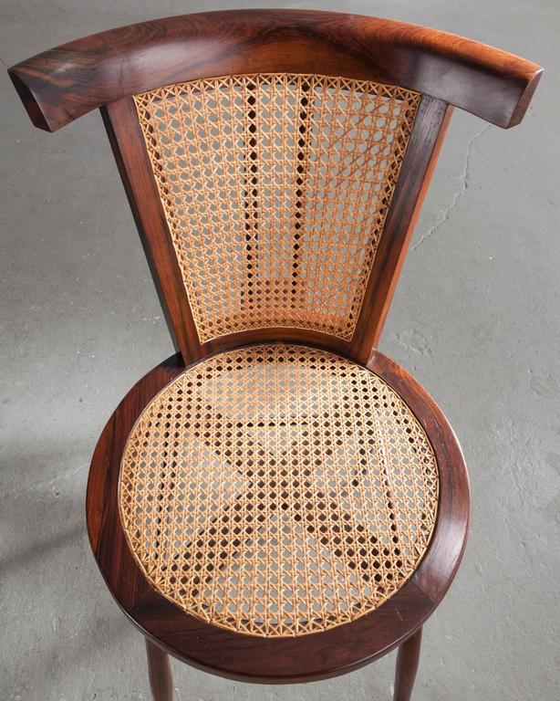 """""""Small Chair"""" in Jacaranda with Curved Cane Back by Joaquim Tenreiro, 1960 4"""