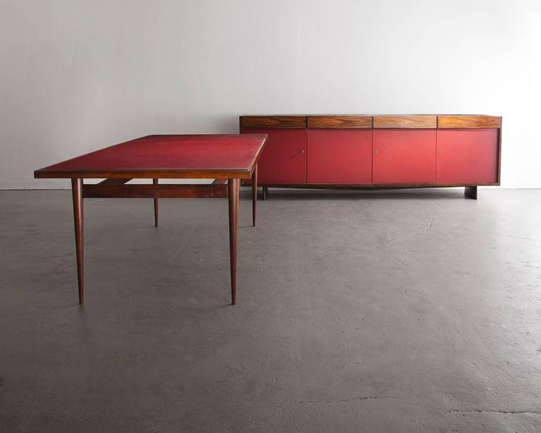 Four-Door Credenza in Jacaranda with Red Formica Front by Joaquim Tenreiro, 1948 For Sale 4