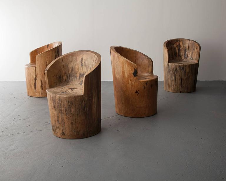 sculpted solid wood chair by jose zanine, brazil, 1970s for sale