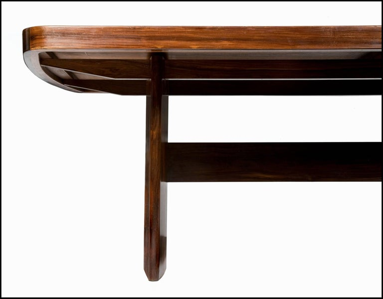 Glass Dining Table in Jacaranda by Joaquim Tenreiro, 1949 For Sale
