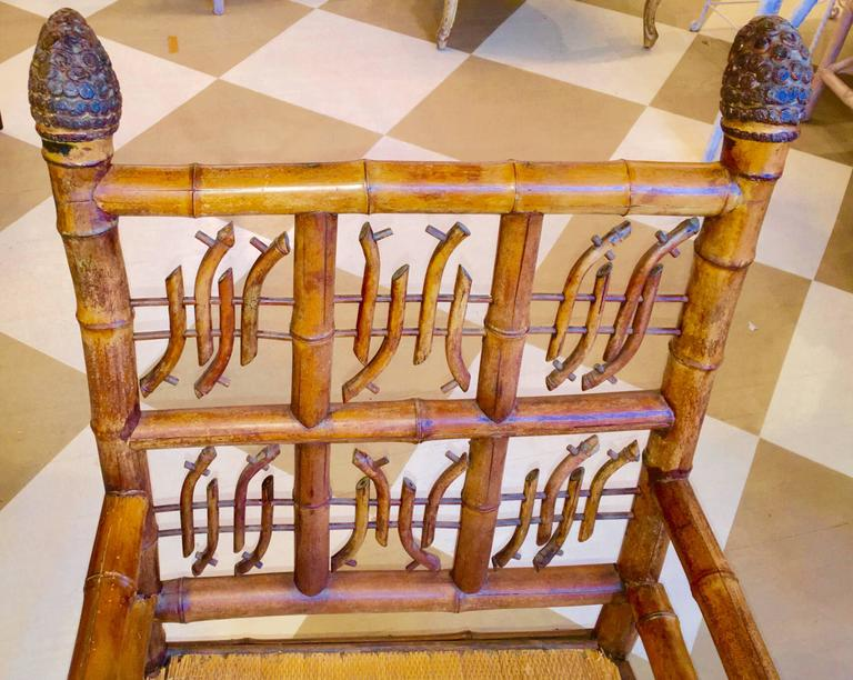 Pair of 19th Century Regency Style Root Bamboo Armchairs For Sale 1