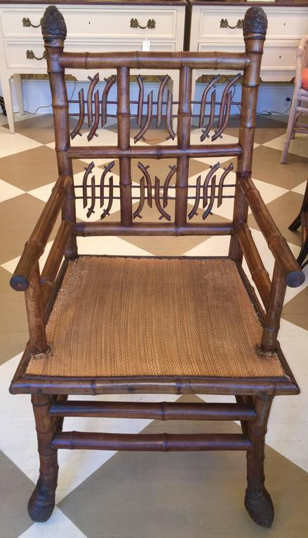 Pair of 19th century Regency Style Root Bamboo Armchairs. English or French