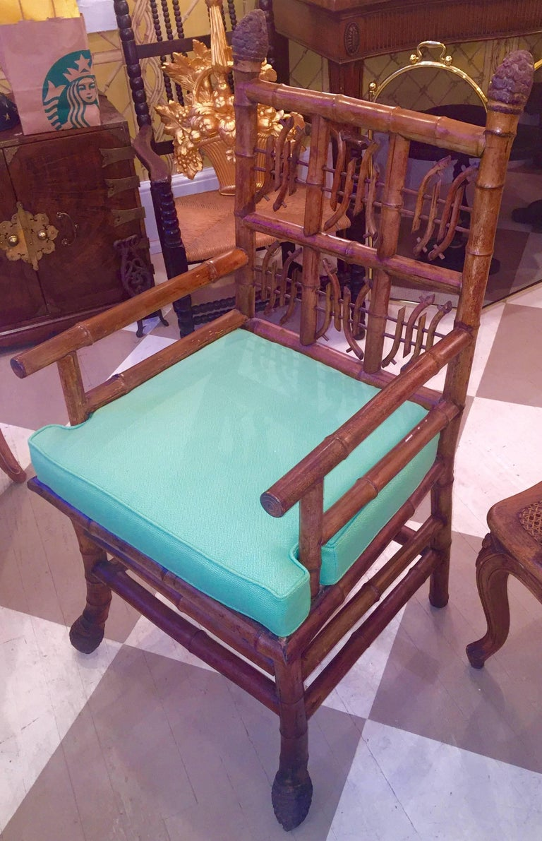 Pair of 19th Century Regency Style Root Bamboo Armchairs For Sale 4