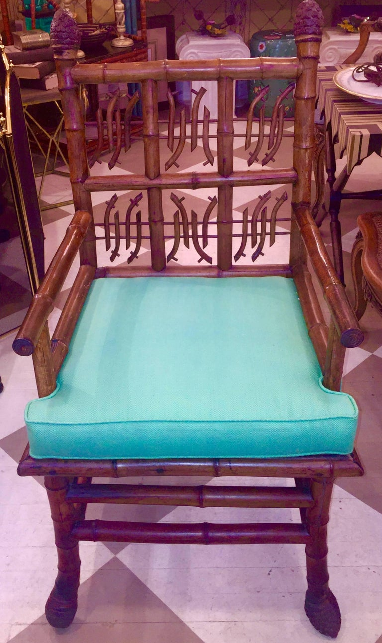 Pair of 19th Century Regency Style Root Bamboo Armchairs For Sale 5