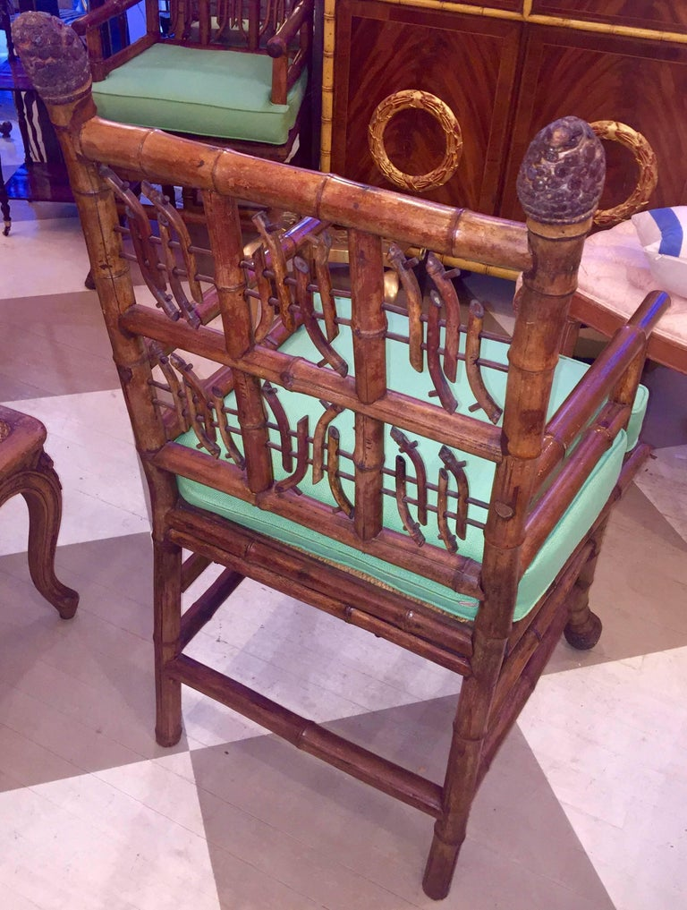 Pair of 19th Century Regency Style Root Bamboo Armchairs For Sale 6