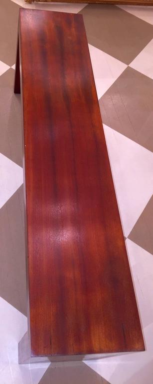 American Mid-Century solid mahogany bench.