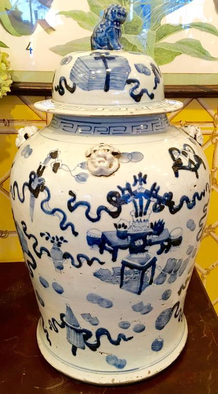 Asian Pair of 19th Century Chinese Blue and White Temple Jars For Sale