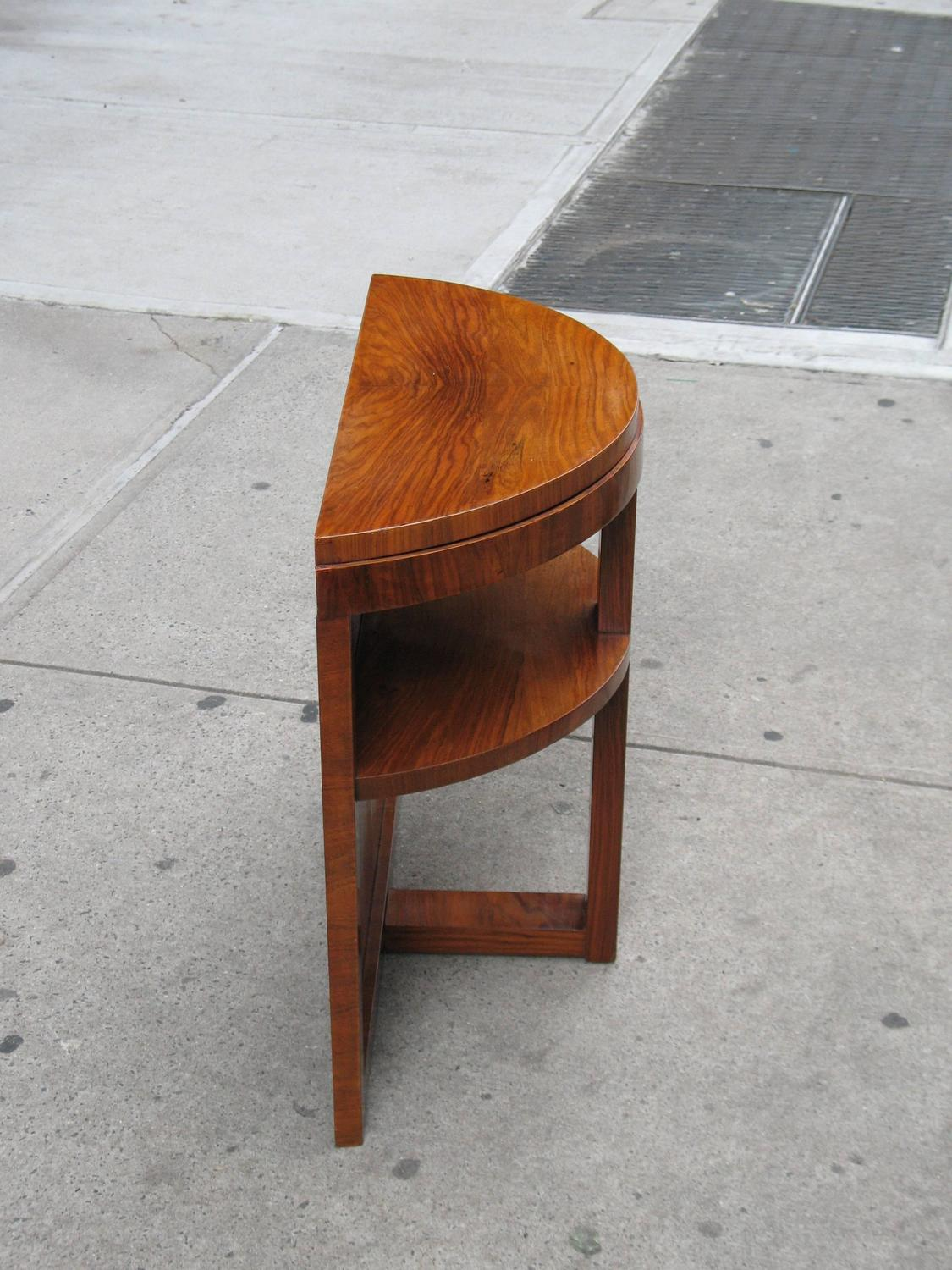 Small French Mid-Century Modern Demilune Console Table For