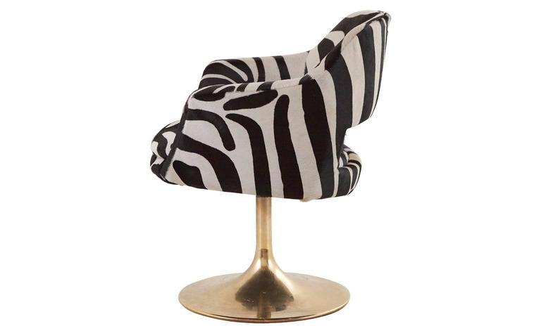 Vintage Zebra Swivel Chair At 1stdibs