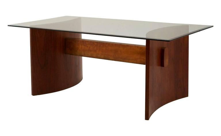 Midcentury Wood Brass And Glass Dining Table For Sale At 1stdibs