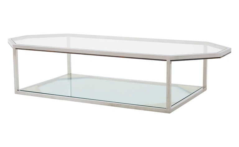 Mid-Century Modern Large Chrome Coffee Table For Sale