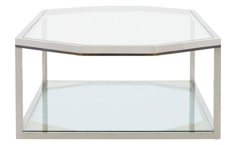 Spanish Large Chrome Coffee Table For Sale