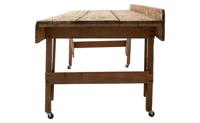 Industrial 20th Century Wooden Work Table For Sale