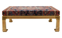 Brass Ming Style Coffee Table Reupholstered with Malayer Rug
