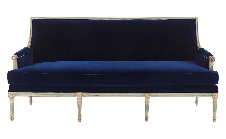 Antique French Navy Velvet Sofa For Sale At 1stdibs