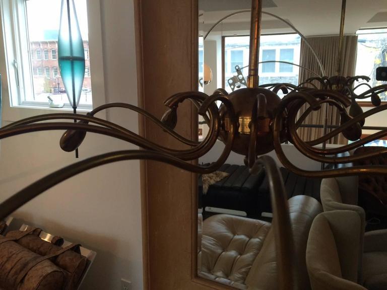 Italian Brass Chandelier by Torlasco For Sale