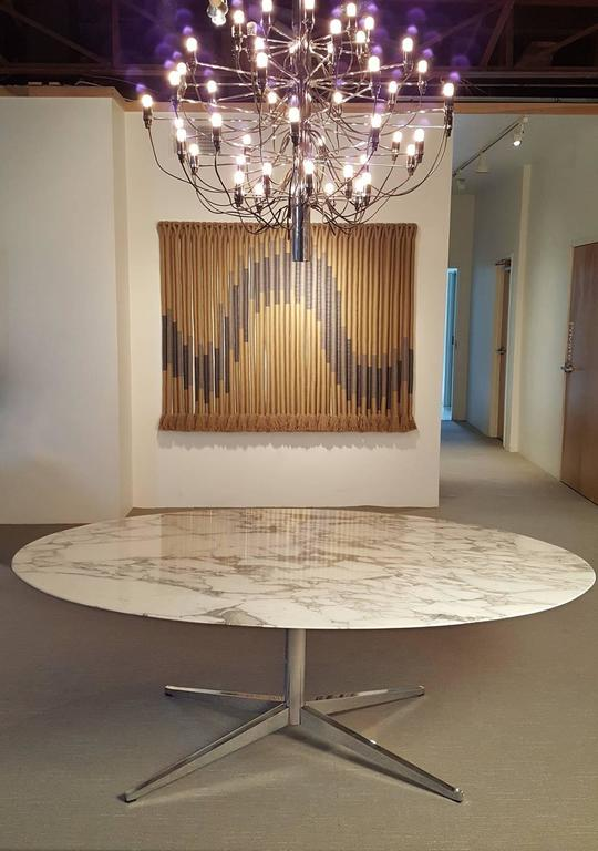 Mid Century Modern Florence Knoll Carrara Marble Dining Table For