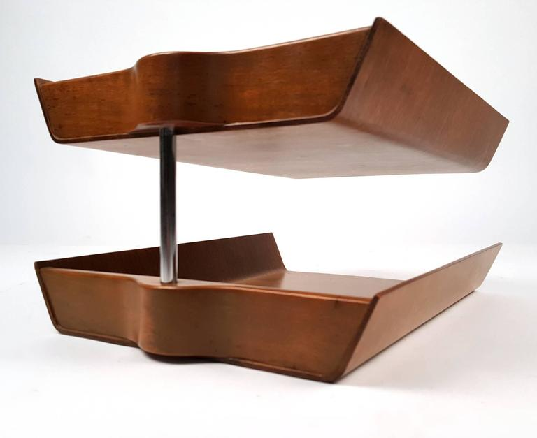 Early Florence Knoll Molded Teak Plywood Letter Tray Excellent Condition With 1950s Label Intact