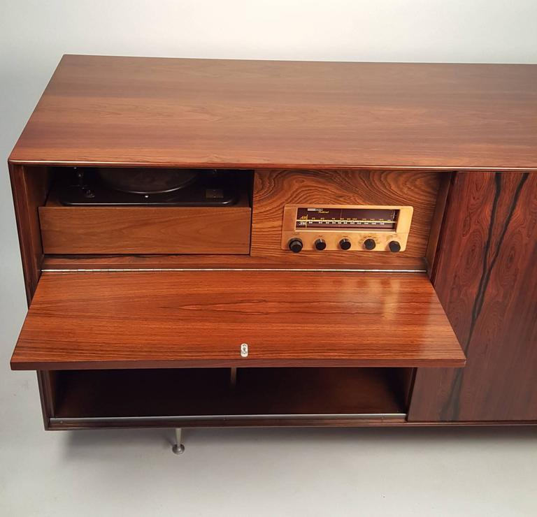 Mid-20th Century George Nelson Brazilian Rosewood Thin Edge Stereo Cabinet For Sale