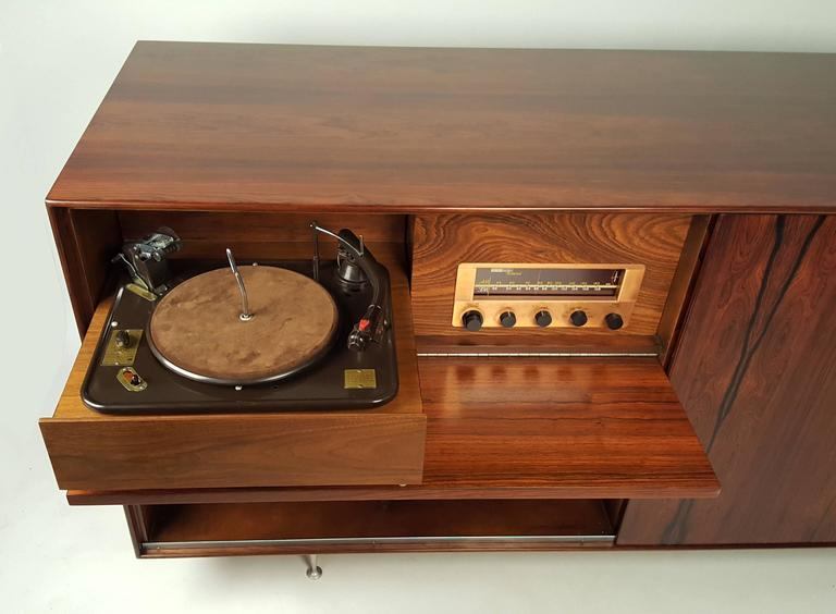 George Nelson Brazilian Rosewood Thin Edge Stereo Cabinet For Sale 1
