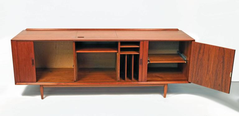 Scandinavian Modern Arne Vodder Danish Modern Tambour Door Stereo or Media Cabinet for Sibast For Sale