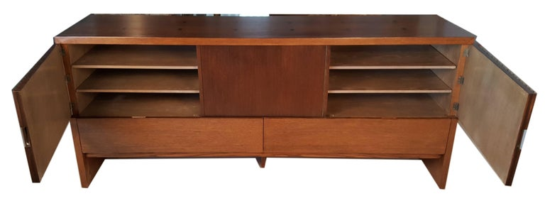 Mid-Century Modern Oak & Walnut Credenza with Butterfly Joinery by Harold Schwartz for Romweber  For Sale