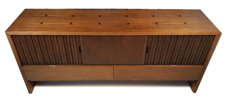 Oak & Walnut Credenza with Butterfly Joinery by Harold Schwartz for Romweber  2