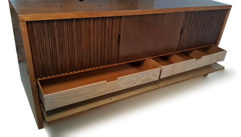 American Oak & Walnut Credenza with Butterfly Joinery by Harold Schwartz for Romweber  For Sale