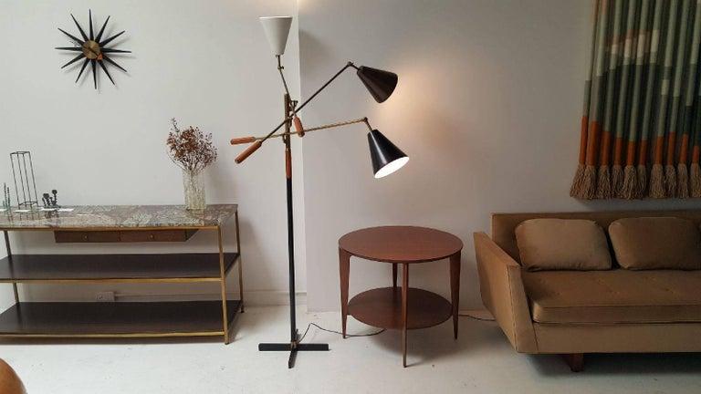 Classic Italian Arredoluce Styled 'Triennale' Floor Lamp Brass & Cognac Leather 2