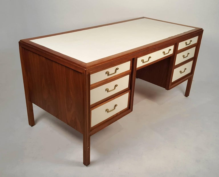 American Walnut Campaign Desk with Leather Top and Drawers Gerry Zanck For Sale